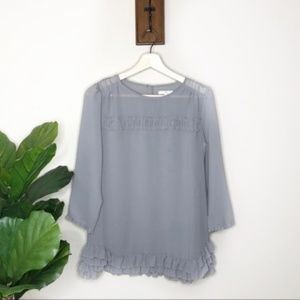 Gap gray ruffle long sleeved sheer blouse